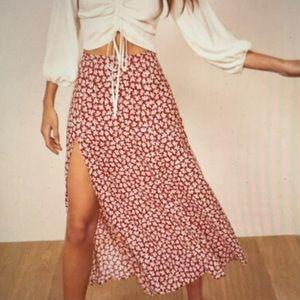 Reformation Zoe Side Slit Midi Skirt size 4